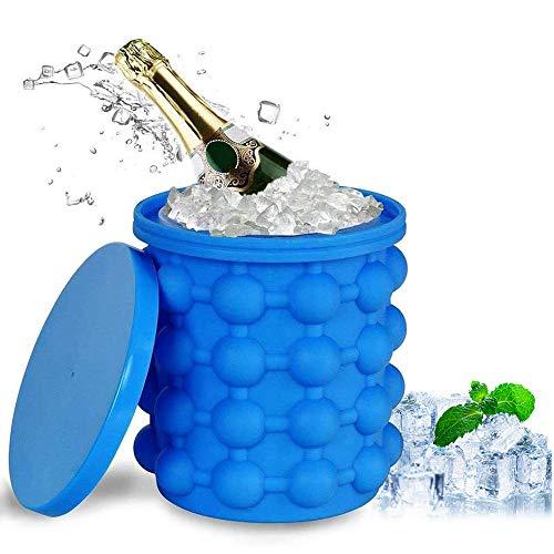 Ice Cube Maker, Silikon Eiswürfelform Eiswürfelbehälter mit Deckel Eiseimer Silikon Eiskübel...