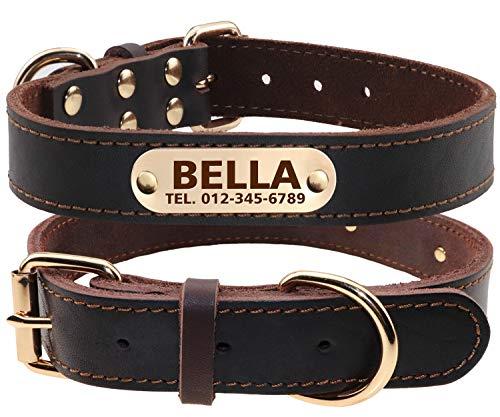 TagME Personalisierte Hundehalsbänder aus Leder mit Eingraviertem Namen und Telefonnummer /...