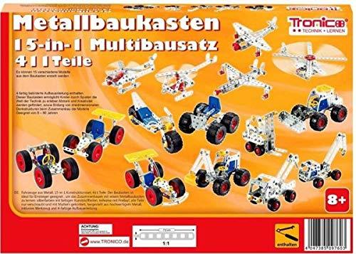 rcee Metallbaukasten Bausatz 15-in-1 Modelle Baufahrzeuge 500 Teile Baustelle Flugzeug Fahrzeuge Auto LKW...