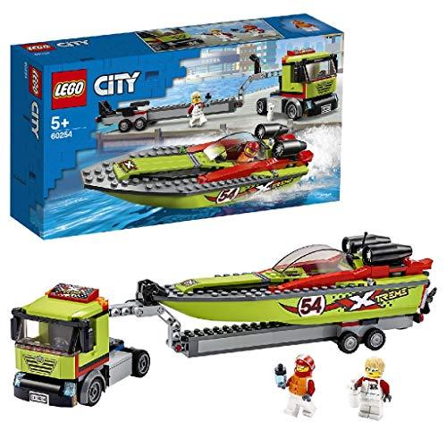 LEGO 60254 Rennboot-Transporter City LKW-Spielzeug mit Anhänger und Schnellboot, schwimmendes...