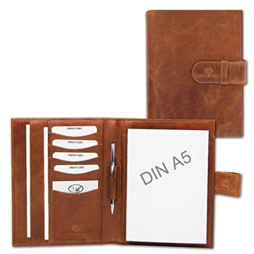 ALMADIH Premium-Schreibmappe mit Schreibblock aus Leder
