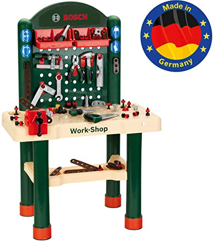 Theo Klein 8461 Bosch 82-teilier Workshop I Mit Arbeitsplatte in Holzoptik und Lernfunktion mit...