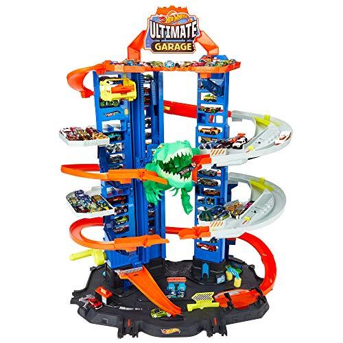 Hot Wheels GJL14 City Robo T Rex Megacity Parkgarage mit Spielzeug Dinosaurier inkl. 2 Spielzeugautos,...