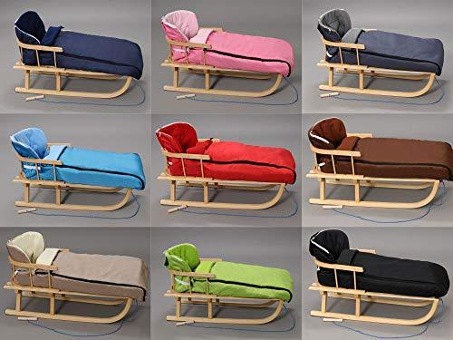 Holzschlitten mit Rückenlehne mit Winterfußsack 108cm Schlitten | 10 Farben (Grün)