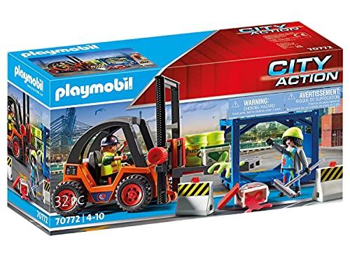 PLAYMOBIL City Action 70772 Gabelstapler mit Hubfunktion, Containermodul und Schwerlastpalette sowie...