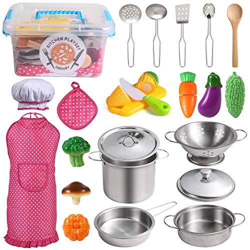 Juboury Küchenspielzeug Zubehör Kinderküche Kochgeschirr Edelstahl Pfannenset Schürze und Kochmütze...