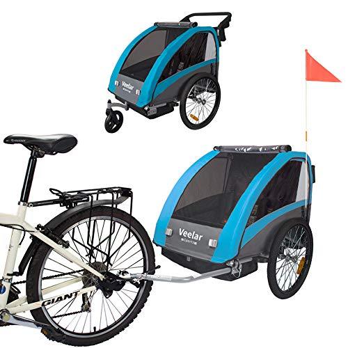 Tiggo Kinderfahrradanhänger Fahrradanhänger Jogger 2in1 Anhänger Kinderanhänger 60302-03 BLAU