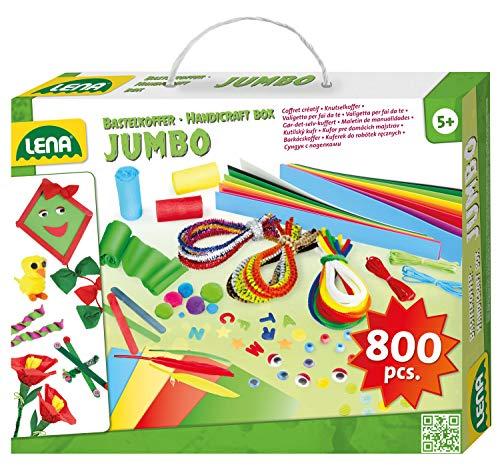 Lena 42629 Jumbo Bastelkoffer mit vielfältigem Material zum Basteln, mit Moosgummi, Buntpapier, Perlen,...