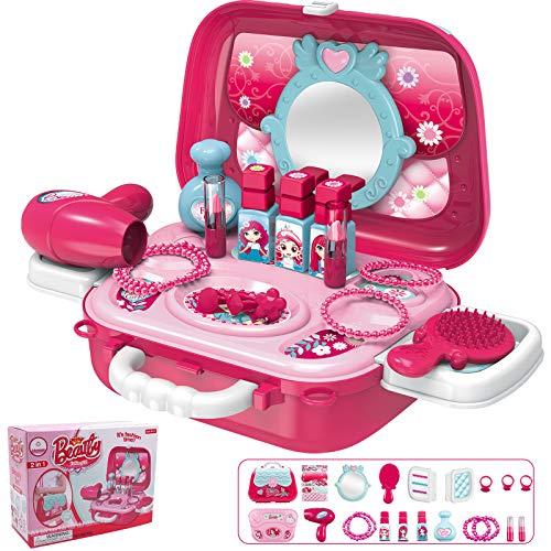 Hiveseen 21 Stück Schminkset Spielzeug für Kinder, Rollenspiel Spielzeug with Prinzessin Koffer...