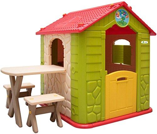 LittleTom - Wetterfestes Kinderspielhaus mit Tisch