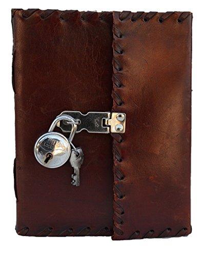 Jaald 25 cm Notizblock Notizen Notizbuch Seiten Handgemacht Album Tagebuch Leder mit Lederbezug Geschenke...