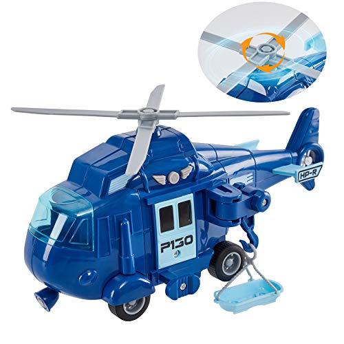HERSITY Hubschrauber mit Drehpropeller Helikopter Spielzeug mit Licht und Sound Flugzeug Kinder Jungen...