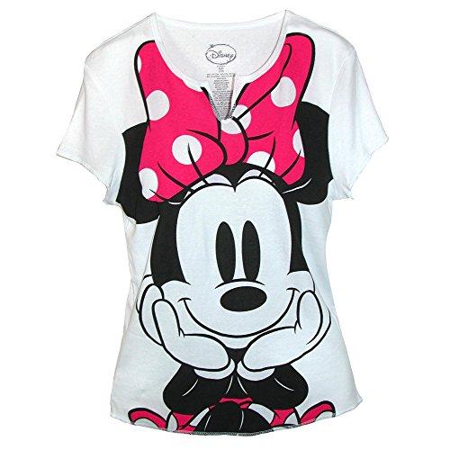 Disney Womens Minnie Mouse Tee Shirt Top, Medium, White