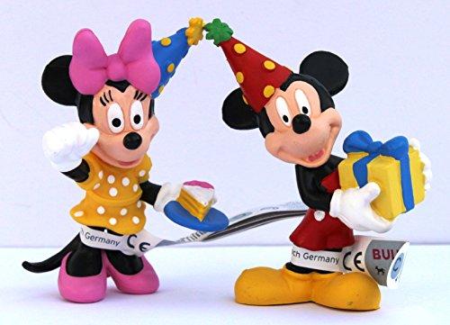 Bullyland - Spielset Disney Micky & Minnie Celebration Geburtstag Tortendeko - Größe ca. 7 cm.