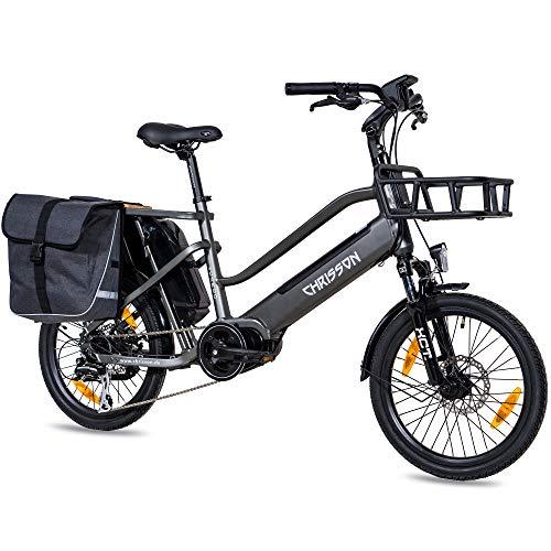 CHRISSON 20 Zoll E-Bike Lastenfahrrad ECARGO grau - Elektro Cargo Bike mit Bafang MaxDrive Mittelmotor...