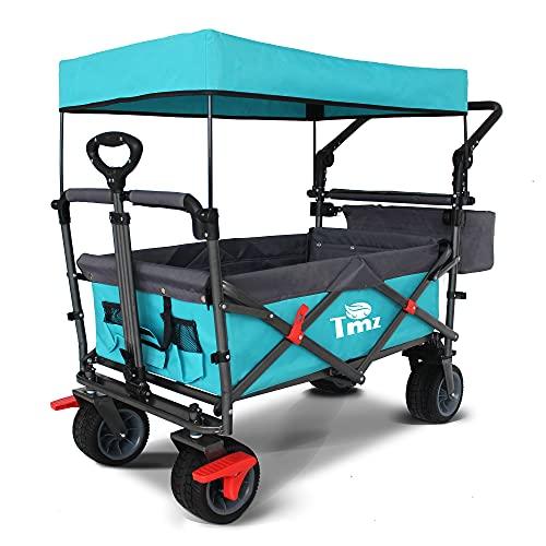 TMZ Faltbar Bollerwagen mit Dach, Klappbar Handwagen für Kinder, Patentiert 360° Dreh-Räder...