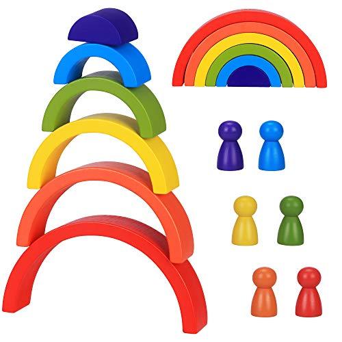 Hölzerner Regenbogenblöcke, 6pcs Montessori Lernspielzeug-Bausteine Holzspielzeug Kreatives...