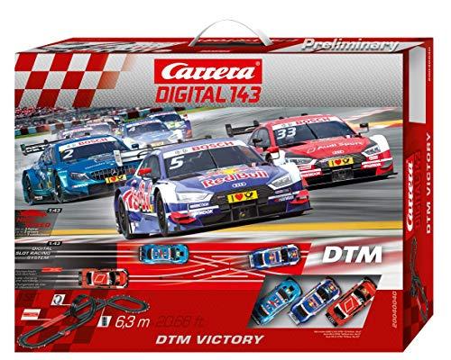 Carrera DIGITAL 143 DTM Victory Autorennbahn Set │ Premium-Rennbahn mit 3 ferngesteuerten Rennautos...