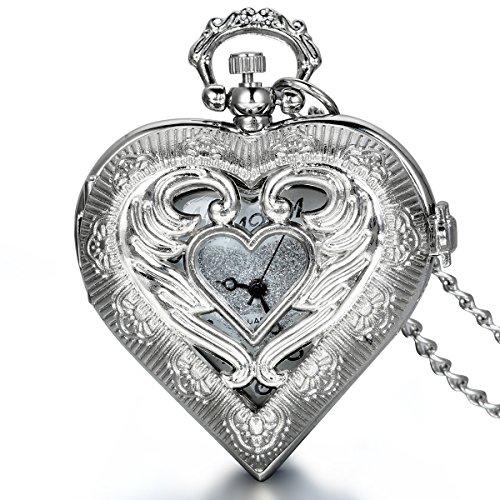 JewelryWe Herren Damen Taschenuhr, Exquisite Engelsflügel Love Herz Uhr Anhänger Analog Quarz Kettenuhr...