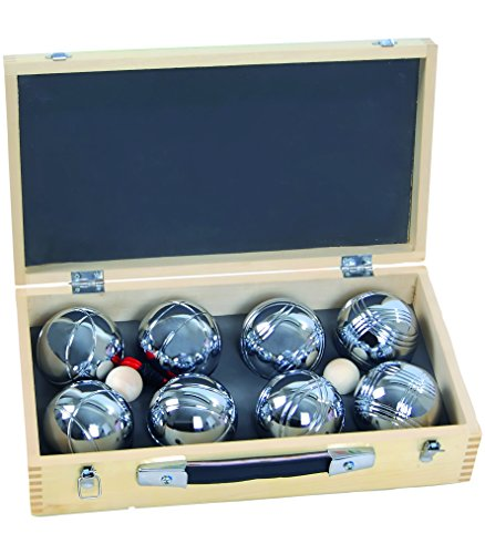 Blinky Petanca Holzkiste, Bocciakugeln, Set mit 2 x 4 Kugeln, ingesamt 8 Stück, 720 g, Beige