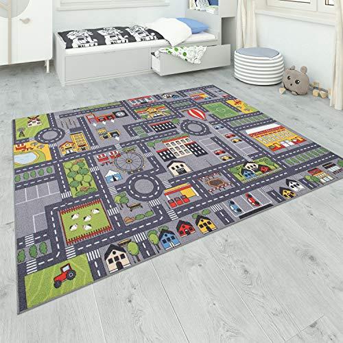 Paco Home Teppich Kinderzimmer Grau Kinderteppich Spielteppich Straßenteppich Mädchen Jungs,...