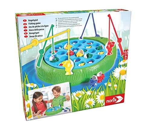 Noris 606066956 Angelspiel, Wer Zuerst alle Fische Seiner Farbe geangelt hat Gewinnt, für Kinder ab 3...