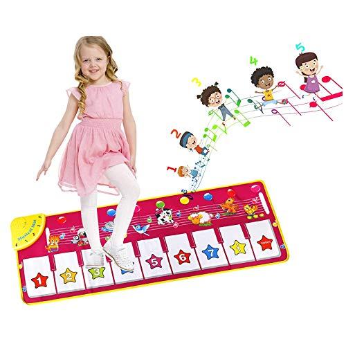 EXTSUD Piano Mat Tanzmatten Musikmatte Klaviermatte Kinder 8 Tierstimmen Klaviertastatur Spielzeug Musik...
