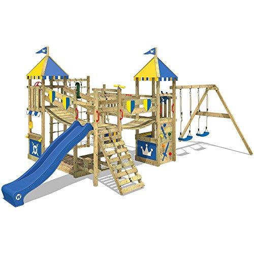 WICKEY Spielturm Ritterburg Smart Queen mit Schaukel & blauer Rutsche, Spielhaus mit Sandkasten,...