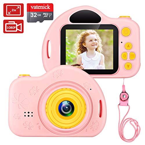 Kinder Digital Kamera Spielzeug Mädchen Jungen Geschenke Videorecorder Stoßfest 2 Zoll HD-Bildschirm...