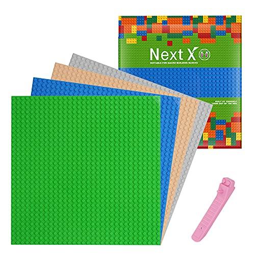 NextX 4 Stück Bauplatte für Classic Bausteine mit Steinlöser Trenner Werkzeug Plastik Grundplatte 25 x...