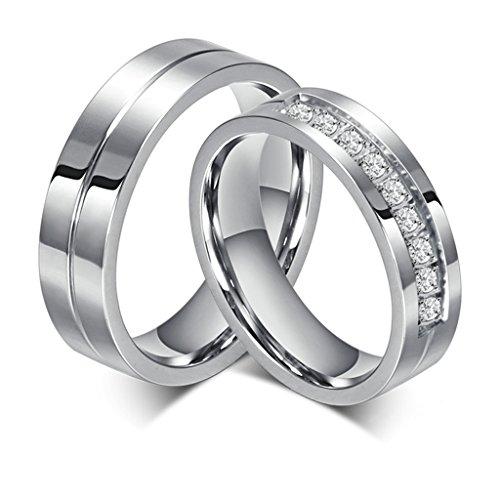 Bishilin Eheringe Paar Edelstahl, Verlobungsringe Ringe Set 6MM Rund Zirkonia Hochzeitsring Partnerring...