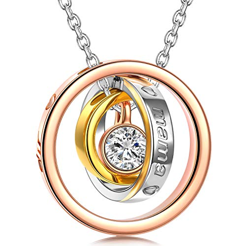 Kami Idea Geschenke für Mama Kette Damen Kette Silber Halskette Rosegold Kette Rosegold Halskette Damen...