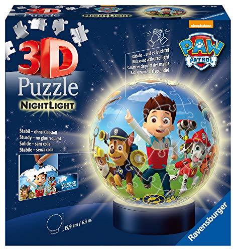 Ravensburger 3D Puzzle Nachtlicht Paw Patrol - Puzzleball für Kinder ab 6 Jahren, LED Nachttischlampe...