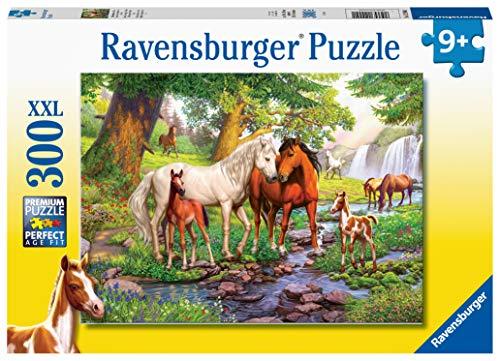 Ravensburger Kinderpuzzle - 12904 Wildpferde am Fluss - Pferde-Puzzle für Kinder ab 9 Jahren, mit 300...