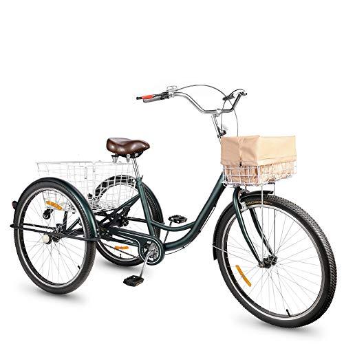 Viribus Dreirad für Erwachsene Dreirad 26 Zoll Fahrrad mit Korb 3 Rad Fahrrad für Erwachsene Adult...