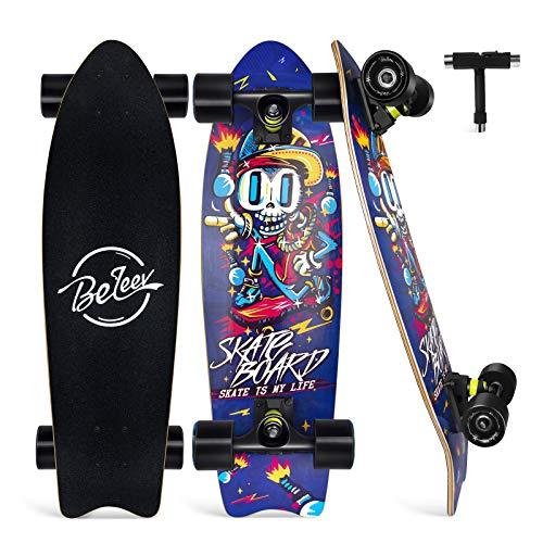 BELEEV Skateboard 27x8 Zoll Komplette Cruiser Skateboard für Kinder Anfänger Jugendliche Erwachsene,...