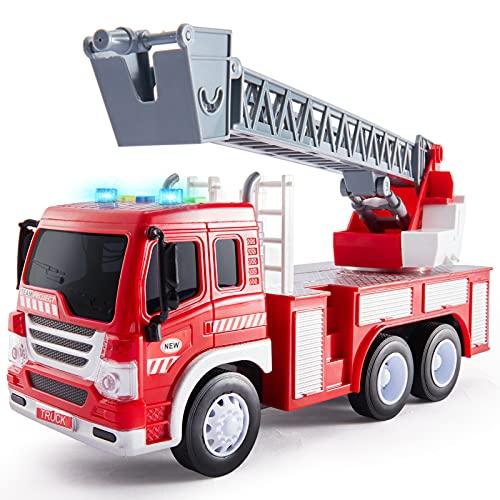 HERSITY Feuerwehr Spielzeug mit Drehleiter, Feuerwehrauto mit Sound und Licht Spielzeugauto Geschenk für...