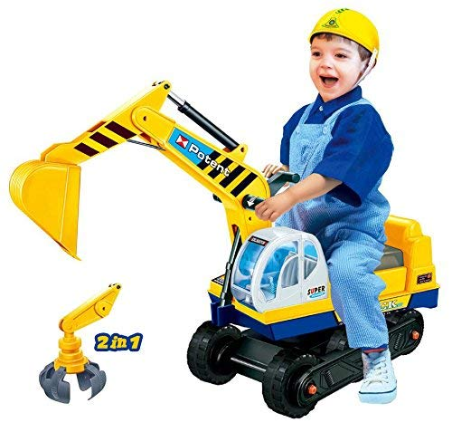 Dominiti e.K. Sitzbagger mit Zwei Schaufeln in gelb + Helm / Greifarm + Schaufel / Kinder-Fahrzeug /...