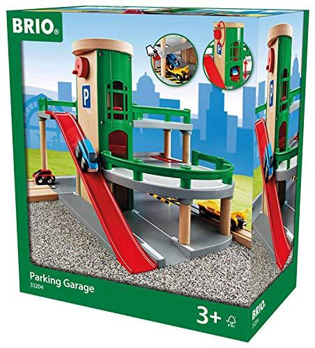 BRIO World 33204 Parkhaus, Straßen und Schienen – Parkgarage mit Aufzug, steiler Ausfahrt und...