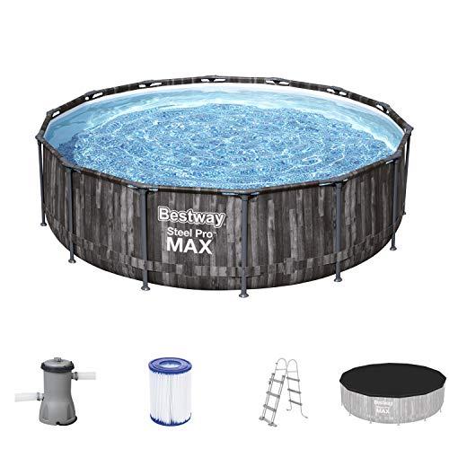 Bestway 5614Z Steel Pro MAX Frame Pool, 427 x 107 cm, Komplett-Set mit Filterpumpe, rund, Holz-Optik