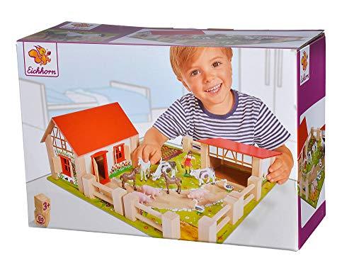 Eichhorn 100004304 - kleiner Bauernhof, Bauernhof mit 2 Gebäuden, Spielplatte, Figuren, Tieren, Zäunen;...