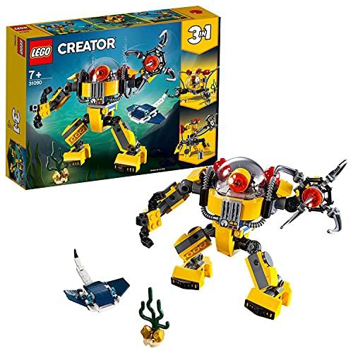 Lego 31090 Creator Unterwasser-Roboter, U-Boot oder Unterwasser-Kran, 3-in-1 Set, Unterwasser-Abenteuer,...
