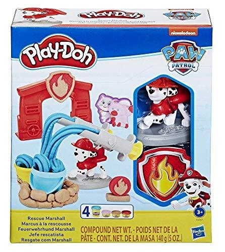 Play-Doh E6887EU5 PAW Patrol Feuerwehrhund Marshall, Spielzeug Figur und Knetwerkzeug mit 4 Farben Knete...