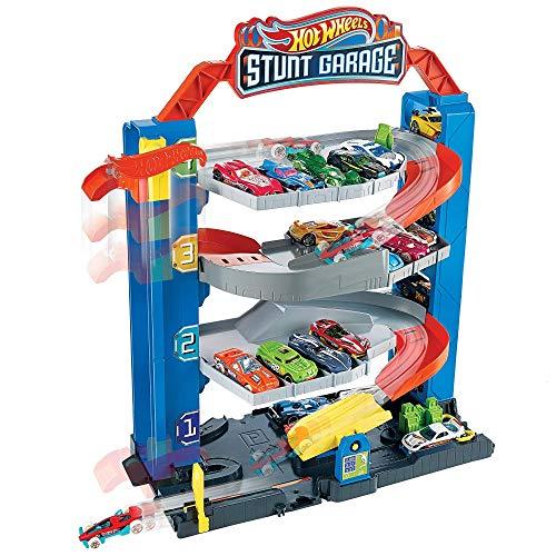 Hot Wheels GNL70 - Hot Wheels City Stunt Garage Spielset, Aufzug zum Befördern von Fahrzeugen,...