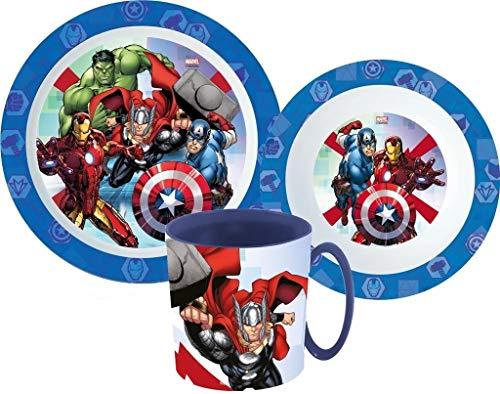Avengers Marvel Kinder-Geschirr Set mit Teller, Müslischale und Tasse