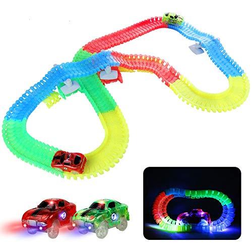Autobahn Kinder Rennwagen mit LED Kinder Leucht Autobahn