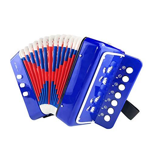 Kiddire Akkordeon Kinder 10 Tasten Ziehharmonika Musikinstrument Spielzeug für Kinder,Blau