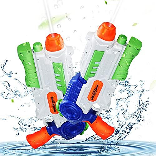Ucradle 2 × Wasserpistole, Wasserpistolen groß 1200ML mit 8-10 Meter Reichweite für Kinder und...