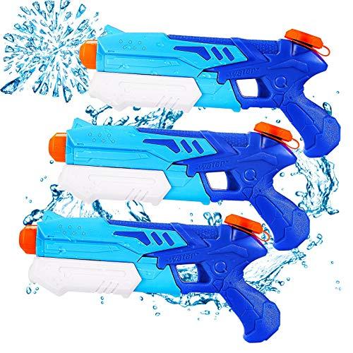 Ucradle Wasserpistole, 3 Stück Kinder Wasserpistolen mit 9M Großer Reichweite, 300ML Wasserblaster...