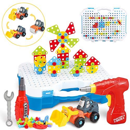 SYOSIN 325 Stücke Steckspiel Bohrmaschine Mosaik Spielzeug Bohrer STEM Schrauben Kreatives DIY Werkzeuge...
